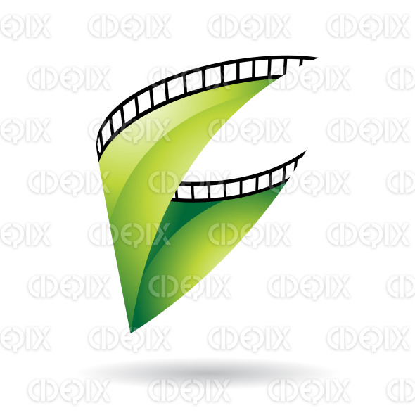 Green Glossy Film Reel icon stock illustration