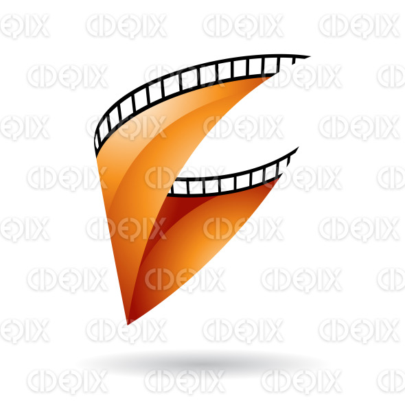 Orange Glossy Film Reel icon stock illustration