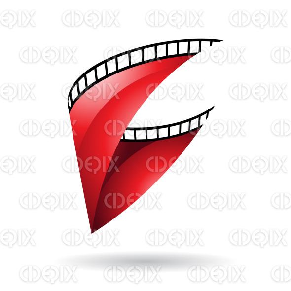Red Glossy Film Reel icon stock illustration