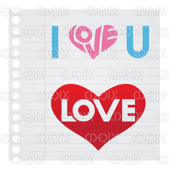 I Love You Text on Notebook Paper Stock Illustration stock illustration