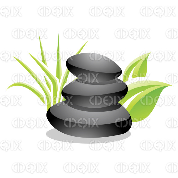 Spa Stones and Leaves Stock Illustration stock illustration