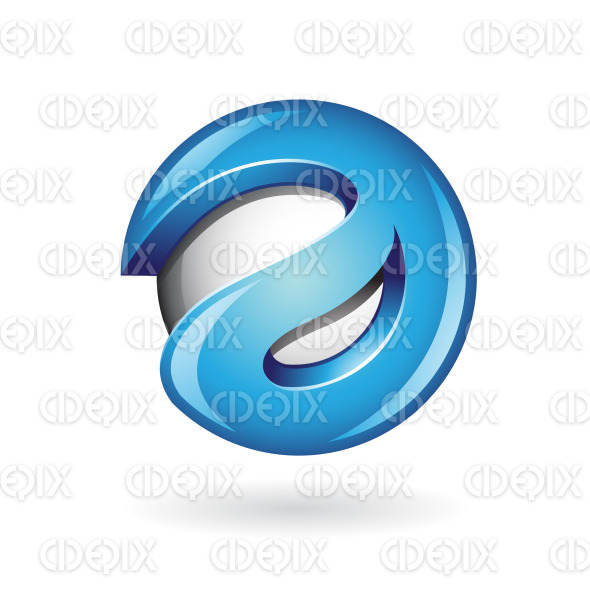 Round Glossy Letter A 3d Blue Logo Icon stock illustration