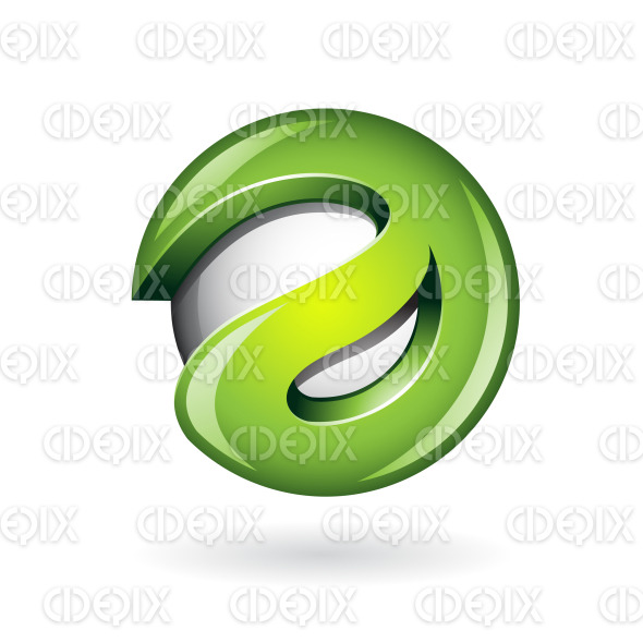 Round Glossy Letter A 3d Green Logo Icon stock illustration