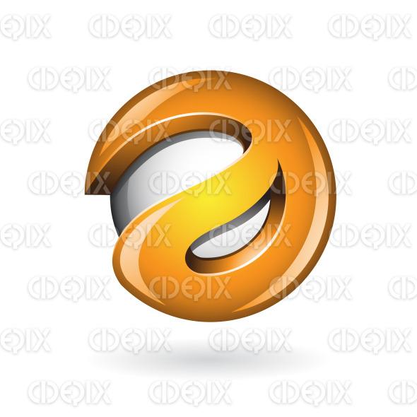 Round Glossy Letter A 3d Orange Logo Icon stock illustration