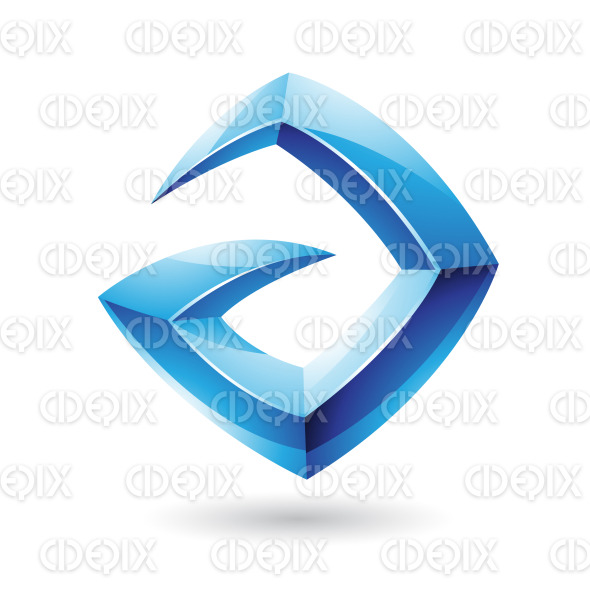 3d Sharp Glossy Blue Logo Icon based on Letter A stock illustration