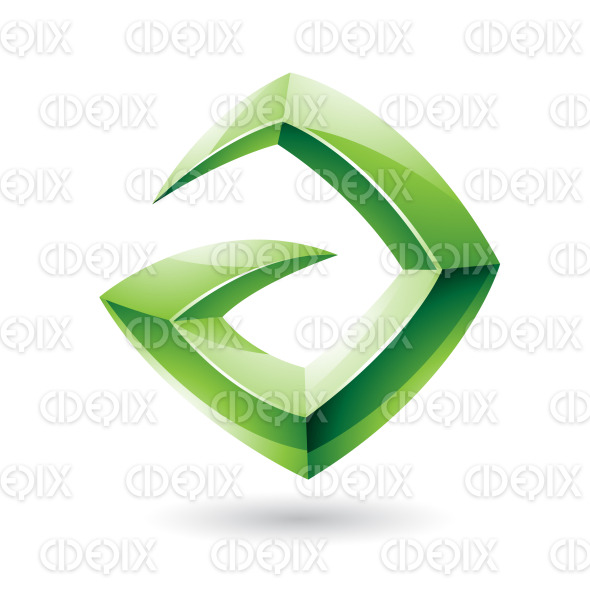 3d Sharp Glossy Green Logo Icon based on Letter A stock illustration