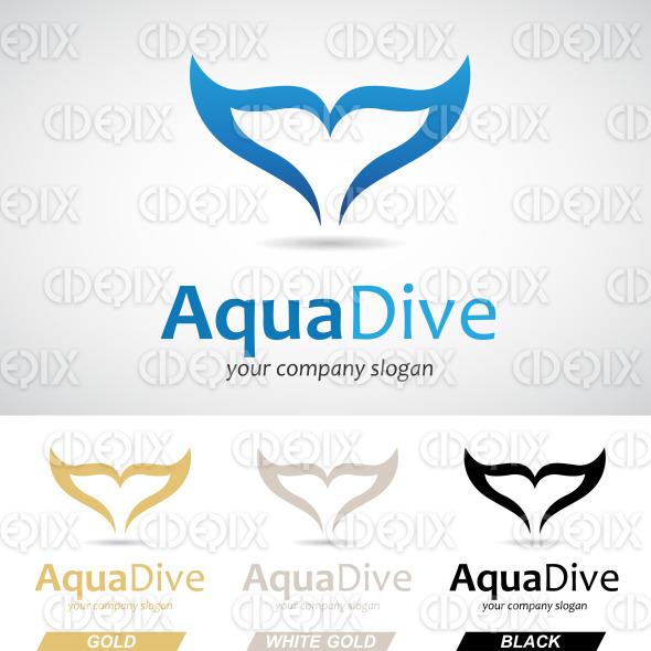 Blue Fish Tail Logo Icon stock illustration