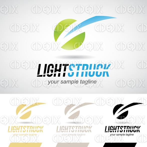 Green and Blue Glossy Lightning Bolt Logo Icon stock illustration