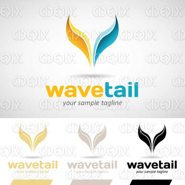 Yellow and Blue Fish Tail Logo Icon stock illustration