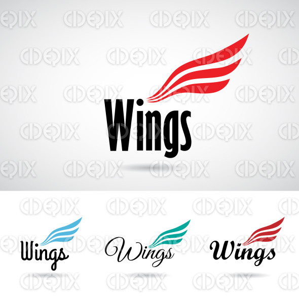 Colorful Wing Shape Logo Icon stock illustration