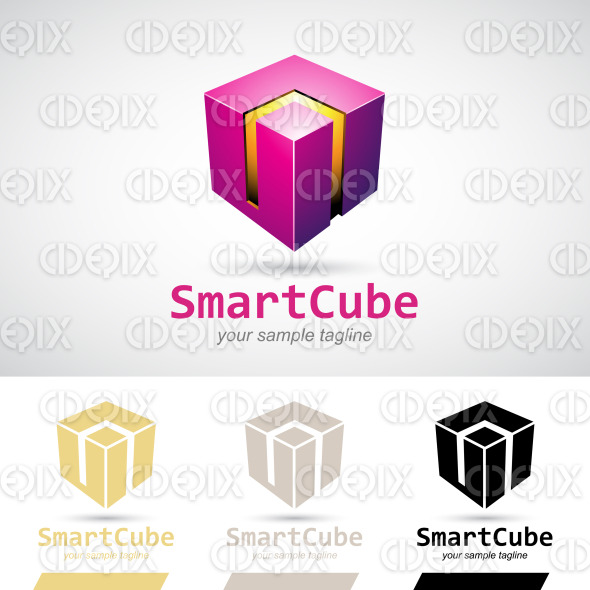 Magenta Shiny 3d Cube Logo Icon stock illustration