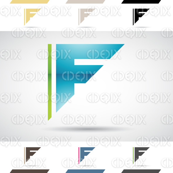 Logo Shapes and Icons of Letter F stock illustration
