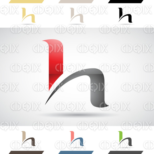Logo Shapes and Icons of Letter H stock illustration