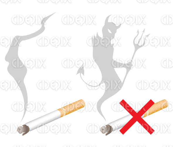 no smoking sign with the devil shaped smoke stock illustration