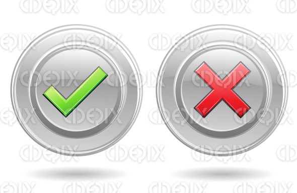 green ok and red error signs stock illustration