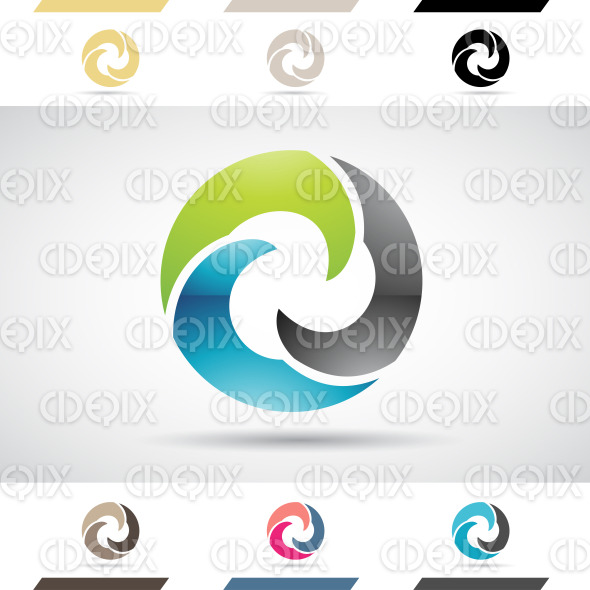 Logo Shapes and Icons of Letter O stock illustration