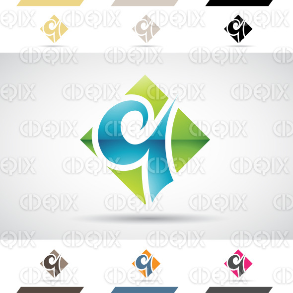 Logo Shapes and Icons of Letter Q stock illustration