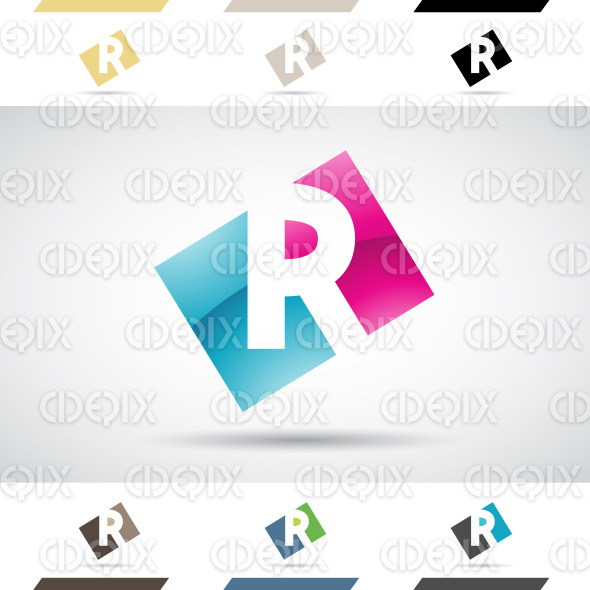 Logo Shapes and Icons of Letter R stock illustration