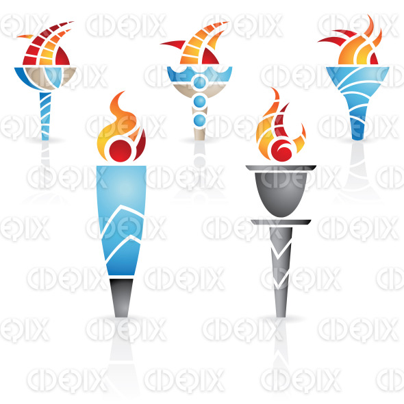 colorful antique roman, greek olympic torches stock illustration