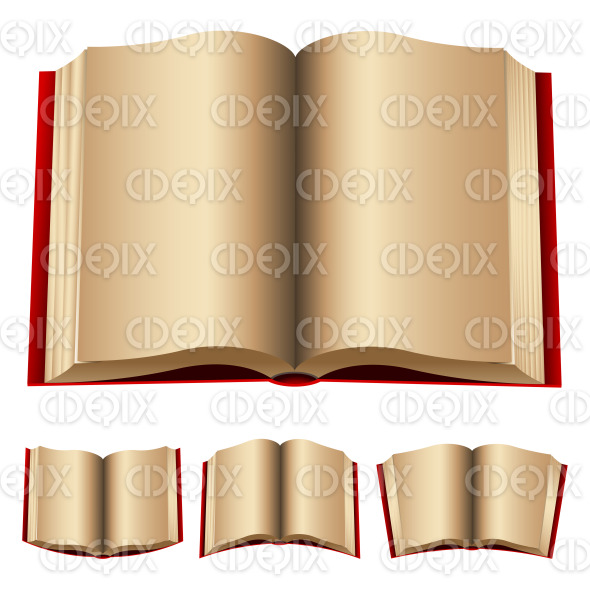 open red hard cover books with old pages stock illustration