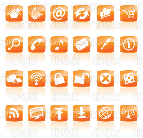 web, computer, app icons on orange buttons stock illustration