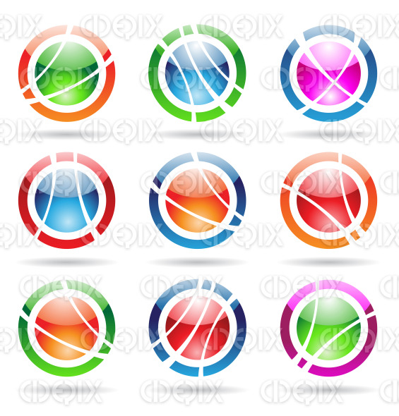 glossy, abstract orbit icons stock illustration