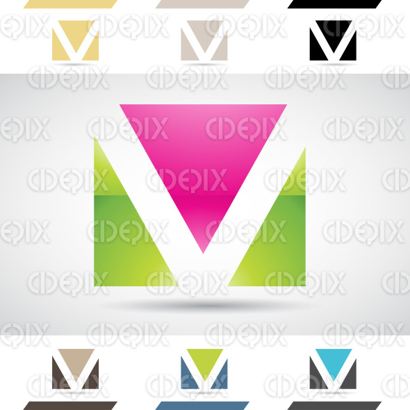Logo Shapes and Icons of Letter V stock illustration