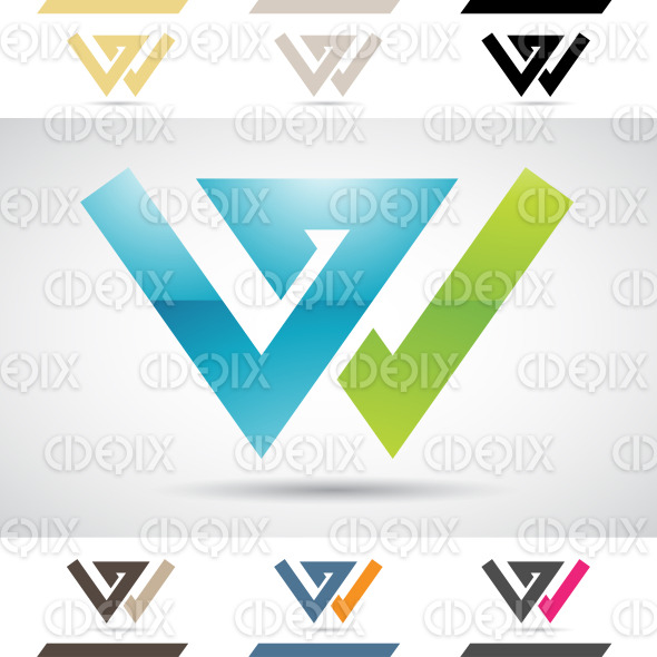 Logo Shapes and Icons of Letter W stock illustration