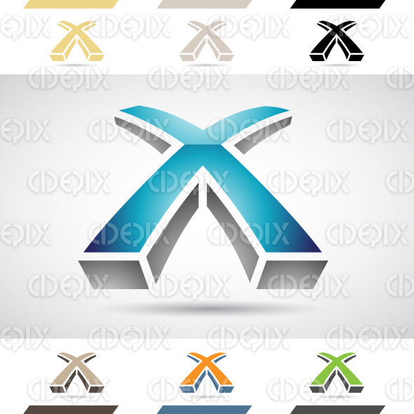 Logo Shapes and Icons of Letter X stock illustration