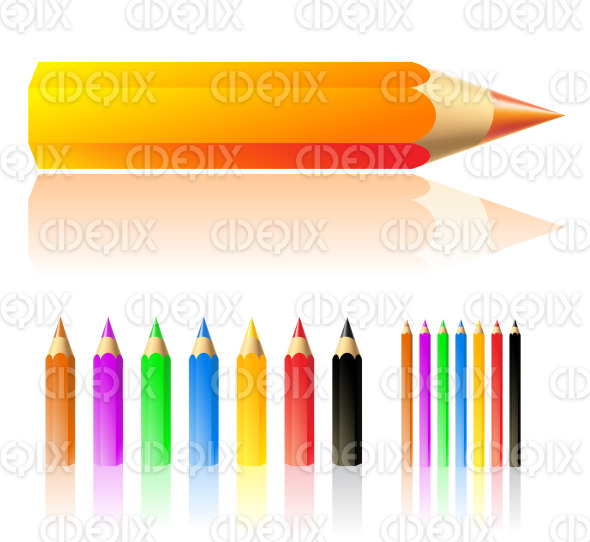 color pencils in various colors stock illustration