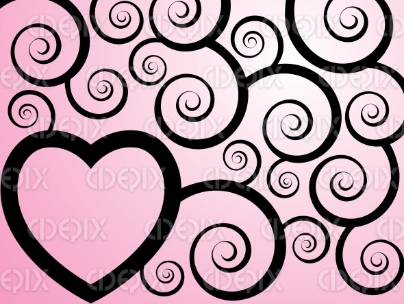 pink heart and swirly black ivy branches stock illustration