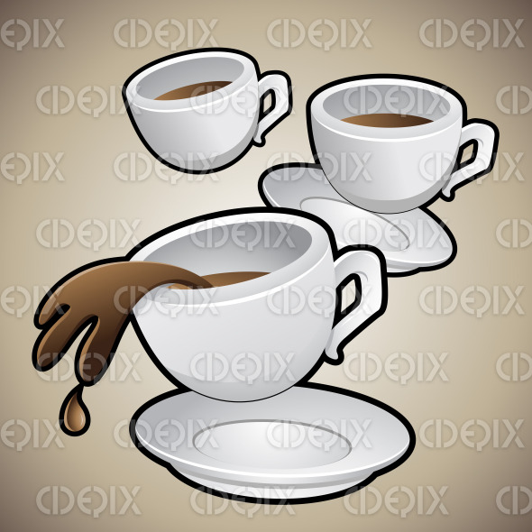 Coffee Cups with Saucers stock illustration