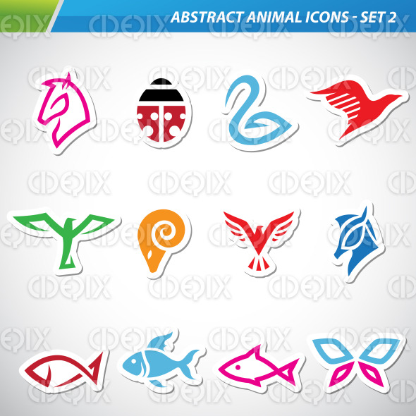 Colorful Abstract Animal Icons stock illustration