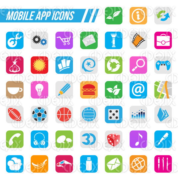Mobile App Icons stock illustration