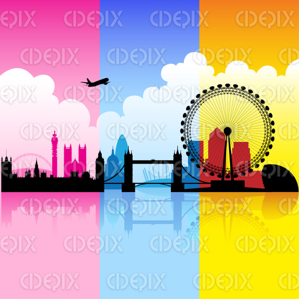 Colorful City of London stock illustration
