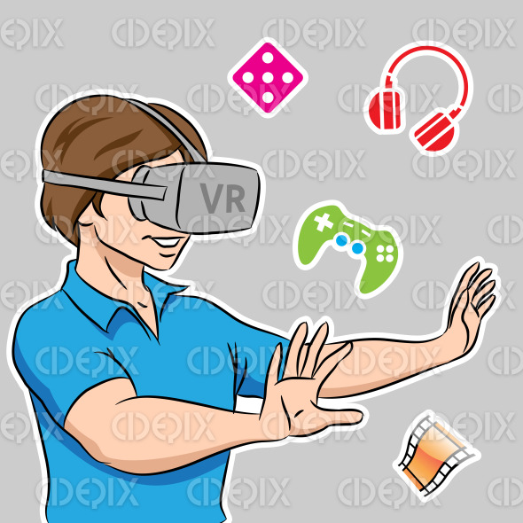 Guy Wearing a Virtual Reality Headset stock illustration