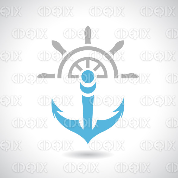Anchor and Rudder Icon Vector Illustration stock illustration