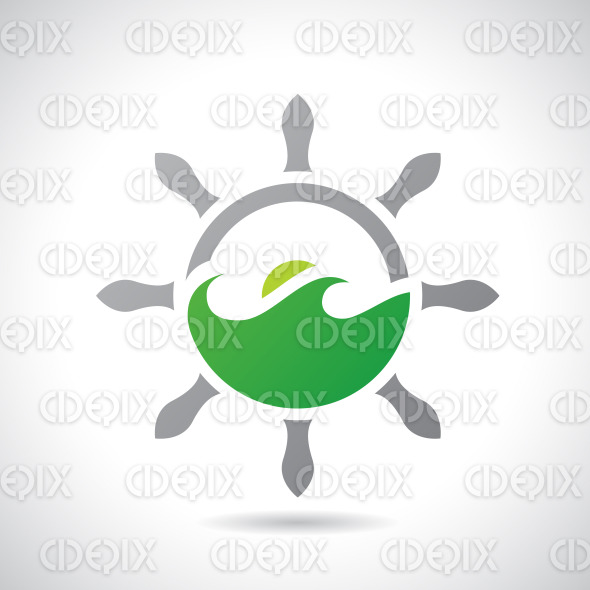 Rudder and Sea Icon Vector Illustration stock illustration