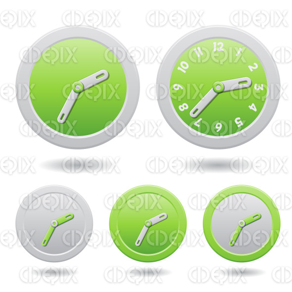Modern Green Clocks Isolated on White stock illustration