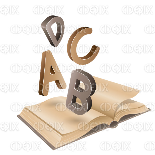 Open Old Book and Flying Brown Letters stock illustration
