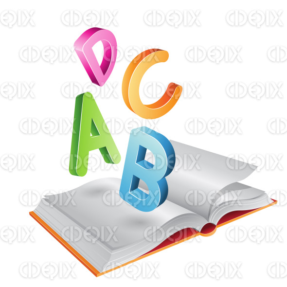 Open Book and Flying Letters stock illustration