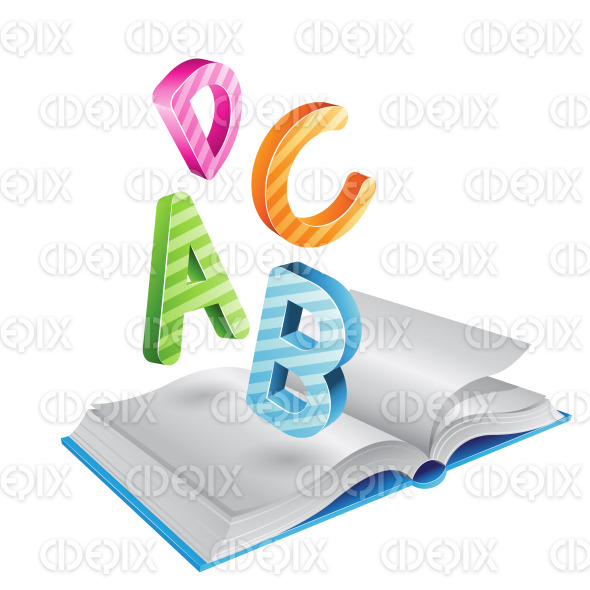 Flying Striped Letters and Open Book stock illustration