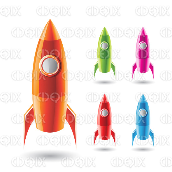 Colorful Rockets Icons stock illustration