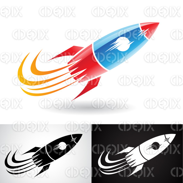 Blue and Red Rocket Icon stock illustration