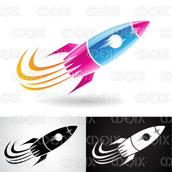 Blue and Magenta Rocket Icon stock illustration