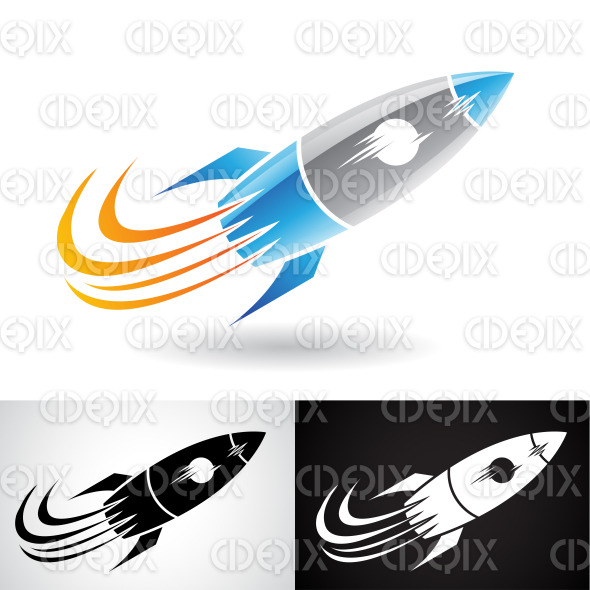 Blue and Grey Rocket Icon stock illustration