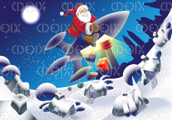 rocket santa delivering the gifts on a space rocket stock illustration