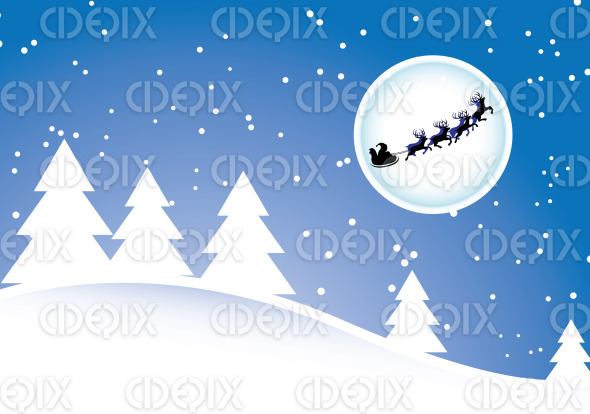 santa and reindeers at night with full moon stock illustration