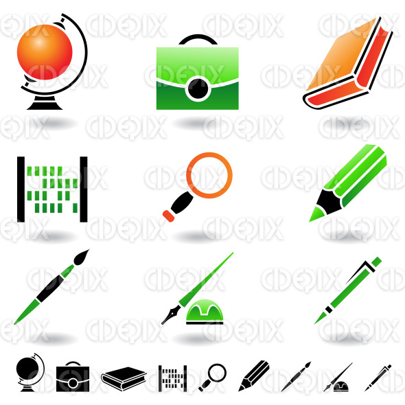 school objects, stationery and education items stock illustration