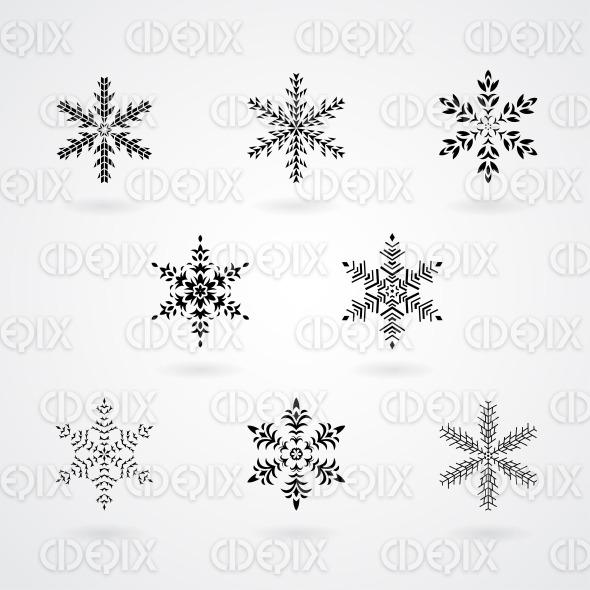 Black Snowflakes on a White Background stock illustration